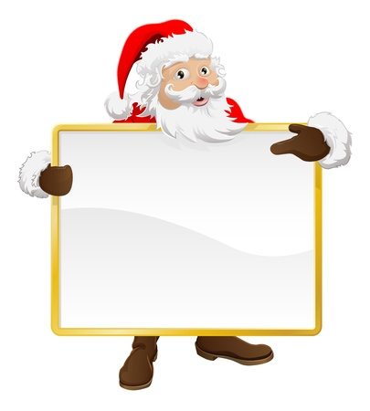 Santa holding up a blank Christmas sign and pointing at it
