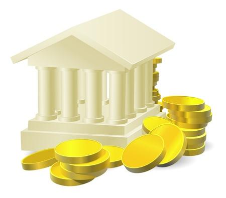 Ilustración de un edificio del banco estilizada rodeada de grandes monedas de oro Ilustración de vector