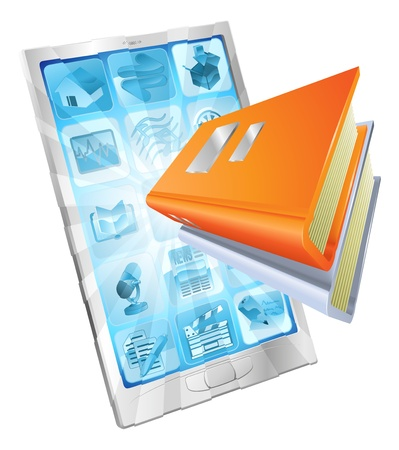 Book icon coming out of phone screen concept for ebooks, reader apps, online database, elearning.