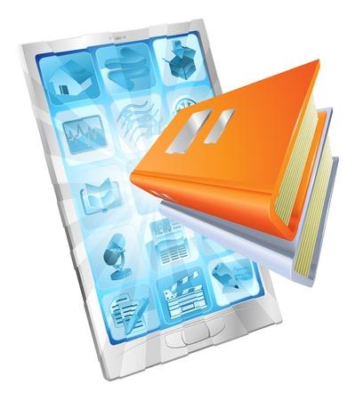 Icono de un libro que sale del concepto de teléfono de pantalla para libros electrónicos, aplicaciones de lector, la base de datos en línea, e-learning.