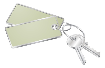 Illustration of two keys on a keyring with tag with copy-space for your text