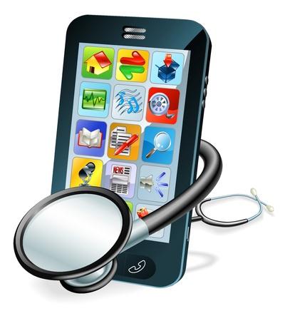 Un teléfono móvil con el estetoscopio envuelta alrededor de ella. Problema concepto de diagnóstico