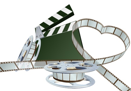 Film strip forming heart shape with clapper board and reels. Space for copy in the centre. Illustration
