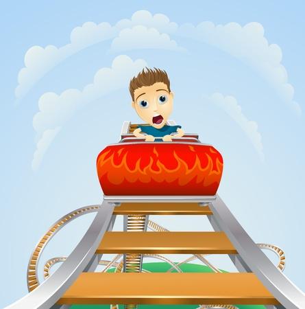 Cartoon młodego chłopca lub mężczyzny patrząc przerażony na przejażdżkę kolejką górską