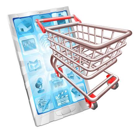 Internet shopping telefoon concept illustratie. Winkelwagen vliegen uit telefoonscherm.