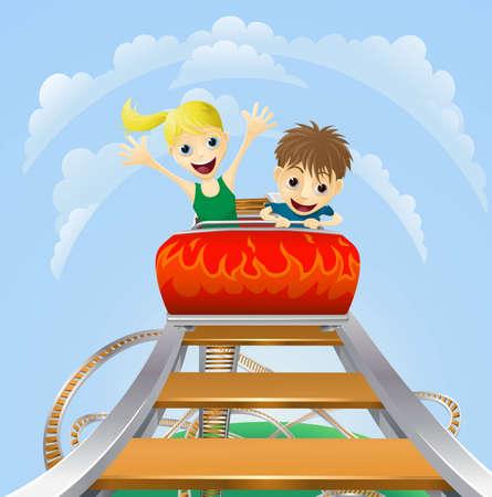 Ilustración de un niño y una niña disfrutando de un paseo en montaña rusa emocionante