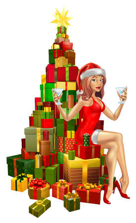 Pretty woman in Santa outfit sitting on stack of gifts Ilustração