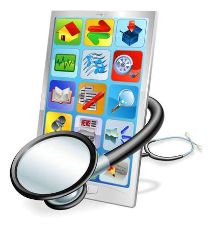 Een mobiele telefoon of tablet pc met een stethoscoop gewikkeld omheen. Health check begrip
