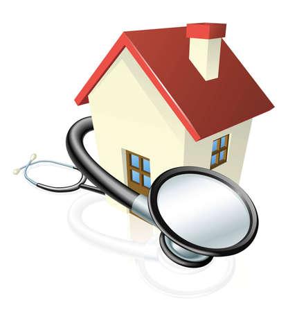Een huis met een stethoscoop gewikkeld omheen. Concept voor vastgoed onderhoud of andere gerelateerd onroerend goed.