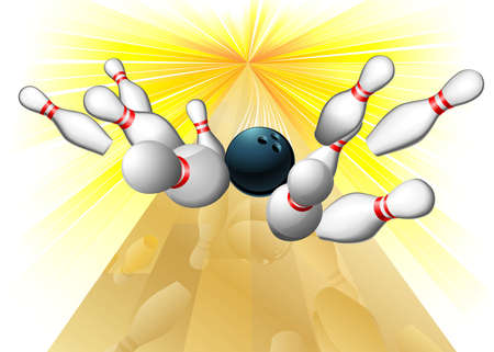 Illustration of a bowling ball smacking into ten pins scoring a strike Illustration