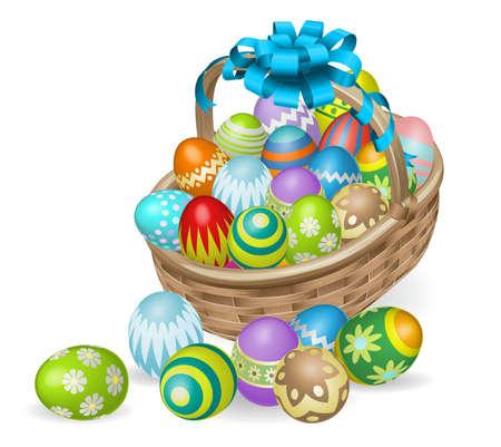 Cestino di Pasqua di coloratissime uova dipinte di Pasqua con fiocco blu