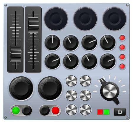 Vector illustratie van een mengpaneel of geluidskaart Vector Illustratie