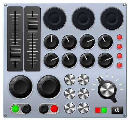 Vector illustration of a mixing console or sound board