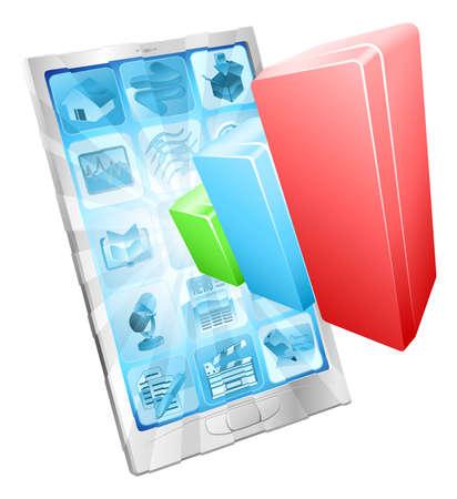 携帯電話スクリーンのコンセプトから出てくる横棒グラフのグラフ