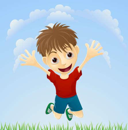 Ilustración de un joven saltando alegremente el aire con los brazos extendidos.