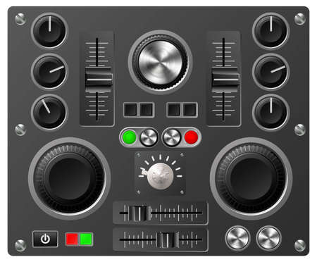 Mixing desk production sound or video desk console sliders, buttons, knobs and switches