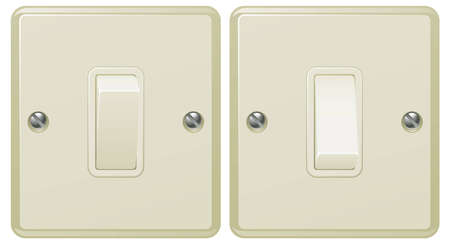 Illustrations of a light switch in the on and off positions