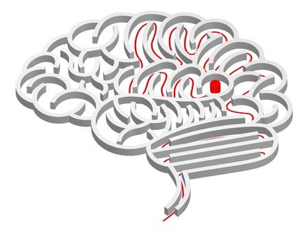Een doolhof in de vorm van hersenen met pad naar het midden