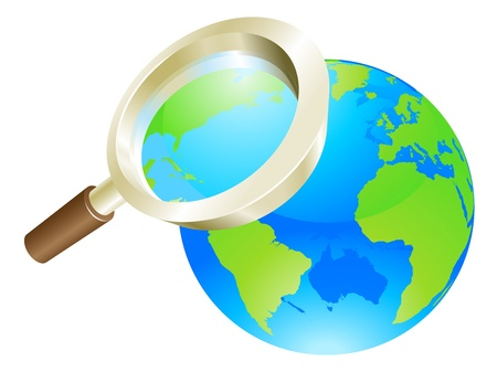 Magnifying glass zooming on world earth globe concept illustration