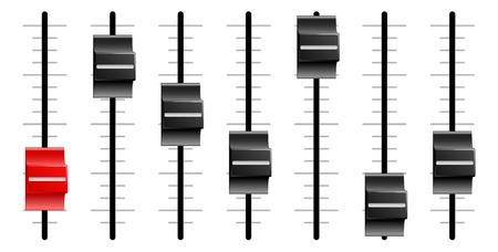 Schuiven of faders zoals die op geluids-of video-controle boards