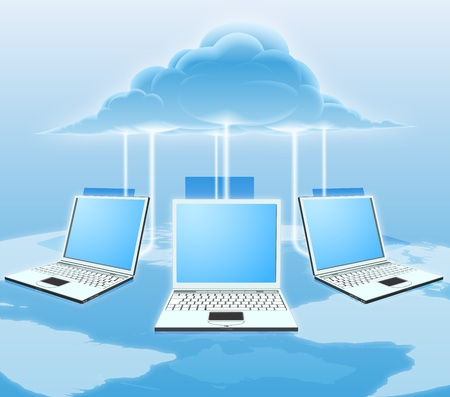 A conceptual cloud computing illustration. Laptops connected to the cloud with a world map in the background.