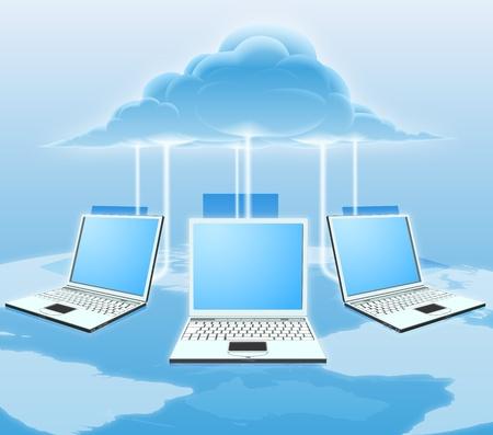 Una nube ilustración conceptual de la informática. Ordenadores portátiles conectados a la nube con un mapa del mundo en el fondo.