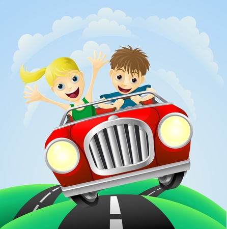 Young man and woman having fun driving their car on a road trip. Illustration