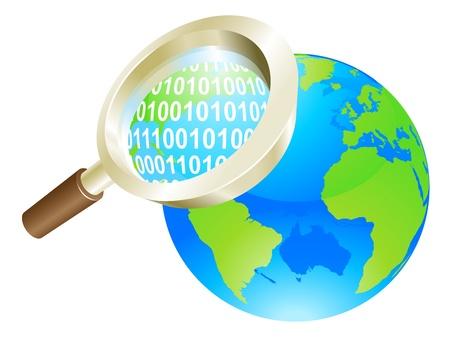 Conceptual illustration of magnifying glass binary data world globe Stock Vector - 11863164