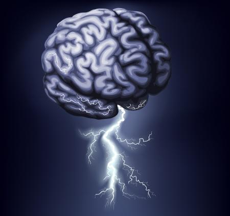 Illustratie van een brein met de bliksem uit komt. Concept voor een brainstorm