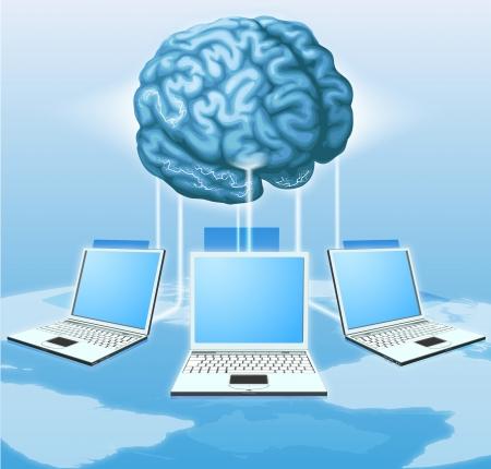 I computer collegati al cervello centrale, concetto per distribuire internet metafora informatica, crowdsourcing o altro.
