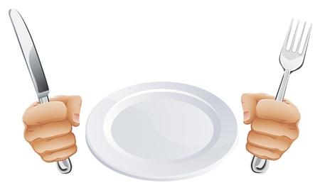 빈 접시와 나이프와 포크 칼을 손에 들고