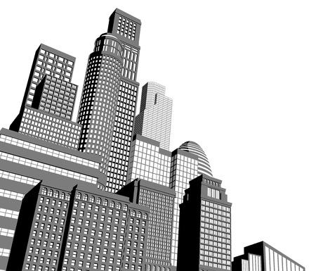 Monochroom grijs en zwart-witte stad illustratie met dramatische perspectief Vector Illustratie