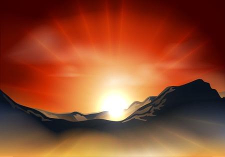 Illustration der Landschaft mit Sonnenaufgang oder Sonnenuntergang über einer Bergkette