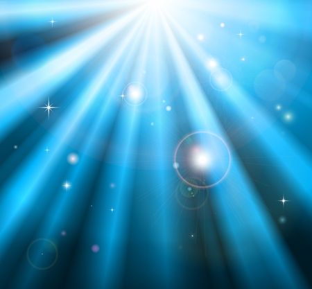 Bright blue light rays shining down with lens flare background Stock Vector - 12063496