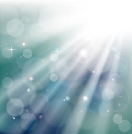 Uno sfondo di raggi di luce con effetto bokeh e particelle scintillanti stelle