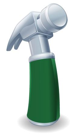 Een illustratie van een cartoon klauwhamer met groene handvat