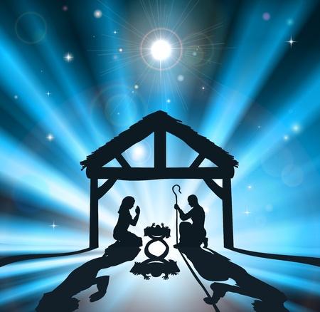 Escena de la natividad cristiana de la Navidad del niño Jesús en el pesebre con la virgen María y José