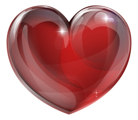 A shiny glossy heart illustration. Classic symbol for love.