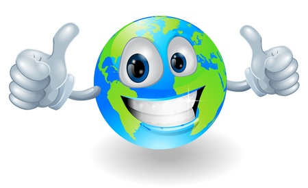 Illustration of a smiling happy globe world character giving a double thumbs up