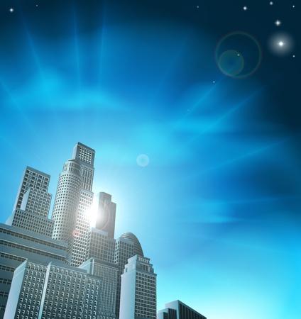 Blue Corporate Stadtbild mit Wolkenkratzern und Bürogebäuden