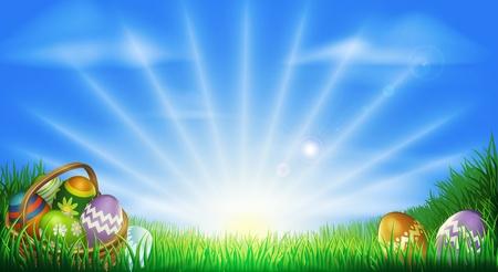 Sfondo di Pasqua con le uova di Pasqua decorate e uova di Pasqua nel paniere in un campo di sole