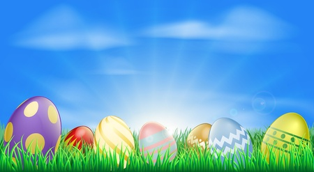 Brillante huevos de Pascua de fondo con muy decoradas huevos de Pascua en la hierba