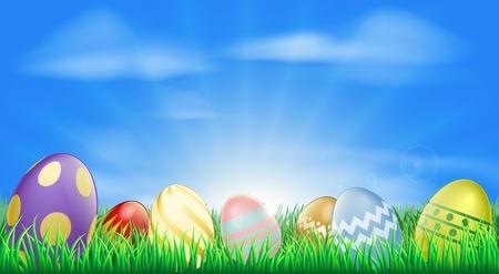 Jasne tło wielkanocne jajka z całkiem zdobionych pisanek na trawie