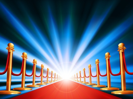 A red carpet leading to somewhere exciting with bright light and abstract background