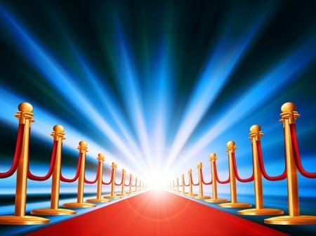 Una alfombra roja que conduce a algún lugar interesante con la luz brillante y el resumen de antecedentes