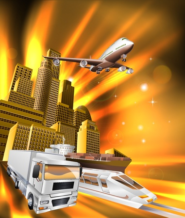 City logistics delivery concept illustration. Truck, airplane, and train speeding towards viewer from city.