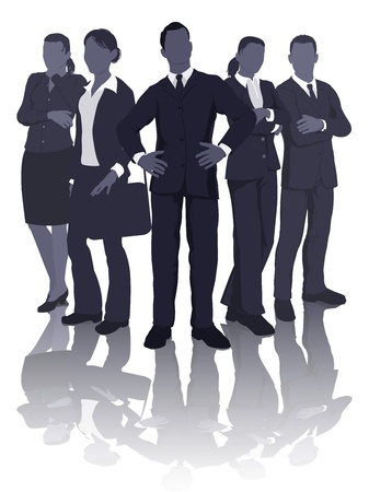 Ilustración de una dinámica de equipo de profesionales de negocios inteligente Ilustración de vector