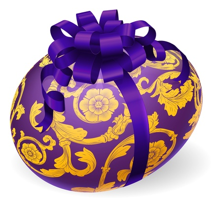 Illustration of a purple Easter egg with bow and ornate floral patterns