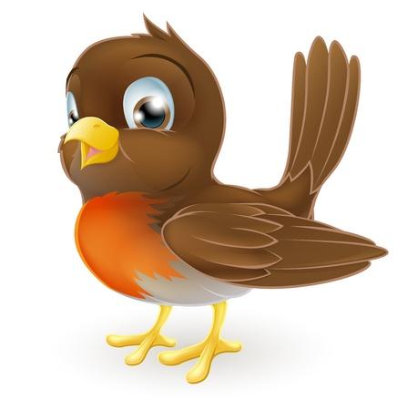 Drawing of a cute cartoon Robin bird standing Векторная Иллюстрация