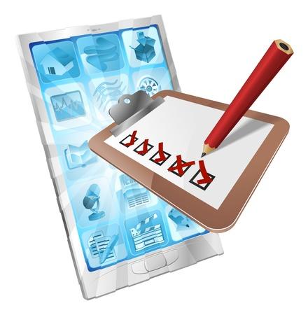 Une illustration d'un presse-papiers avec un crayon de marquage sur elle sortir de l'écran du téléphone. Peut-être un sondage en ligne, sondage d'opinion, ou d'un document d'inspection